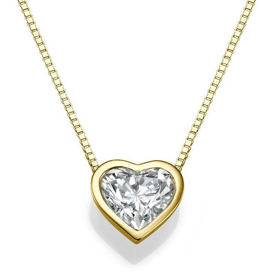 Heart shape diamond pendant necklace 14k gold necklace love like this item mozeypictures Images