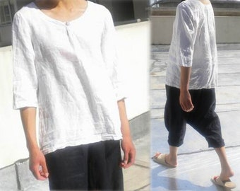 006---Women's White Linen Blouse, Linen Tunic, Linen Tee Shirt, Half Sleeve Top, Plus Size Clothing, Made to Order.