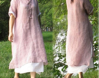 156---Lilac Thin Linen Robe/Dress, Purple Dress, Made to Order.