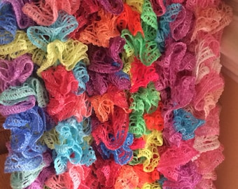 Soft hand-knit colorful fashion scarves