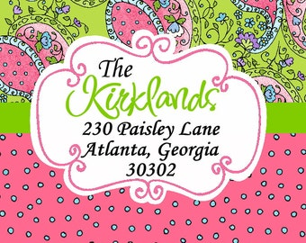 Personalized Address Label Preppy Square Paisley Polka Dot Sticker Gift Tag Address Label Party Favor Bookplate