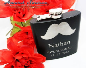 7 Personalized Groomsmen Gift Flask with Mustache, Flask, Groomsmen Flask, Groomsman Gift Best Man Gift, Wedding Gift, Mustache Flask
