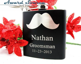 Groomsmen Gift, 2 Personalized Groomsmen Gift Flask with Mustache, Flask, Groomsmen Flask, Groomsman Gift Best Man Gift, Mustache Flask
