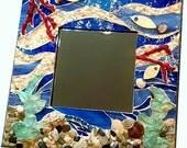 Nautical mosaic mirror beach house wall hanging Vacation memories Sea glass keepsake Coral seascape Fish wall art Aquatic seashells decor