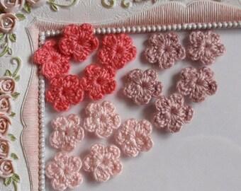 15 mini crochet flowers applique CH-027-2
