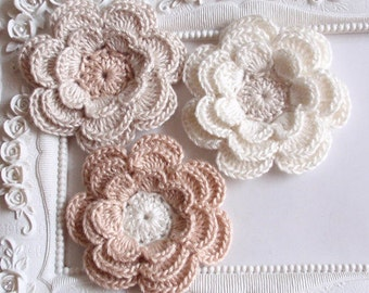 3 crochet flowers applique CH-036-08
