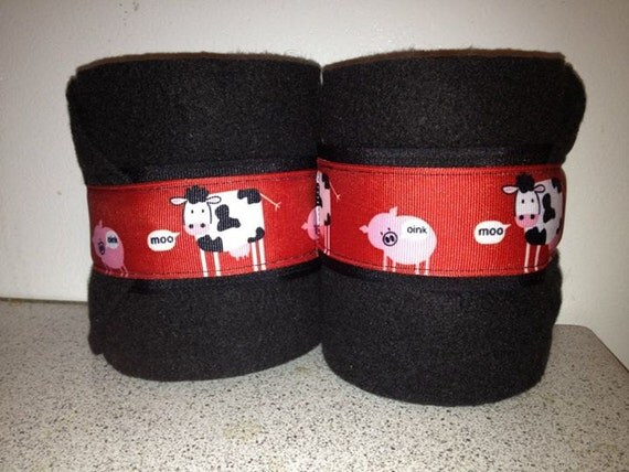 2 Black Polo Wraps with Red Cow and Pig Ribbon