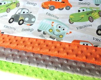 Car Minky Blanket -MADE TO ORDER- Car Blanket - Minky Baby Blanket- Toddler Minky Blanket -Cot Blanket-Baby Blanket- Bedding