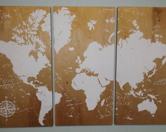 Vintage WORLD MAP!!  Screen Print Wood Painting Wall Art on Stained Solid BIRCH 3/4 inch thick