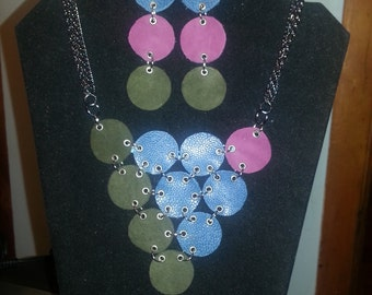 Grapes-handmade multi-colored leather necklace