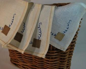 Vintage Embroidered Patchwork Linen Napkin Set of 4