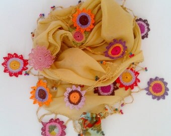 Straw Yellow Cotton Scarf with Crocheted Flowers