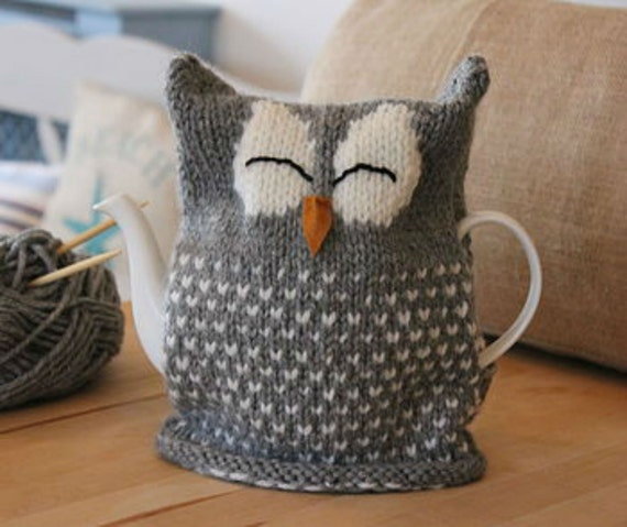 Free Knitted Tea Cosies Patterns : Owl Tea Cosy Downloadable knitting Pattern