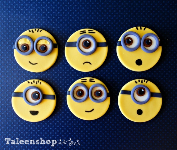 Items Similar To Minions Fondant Cupcake Toppers On Etsy