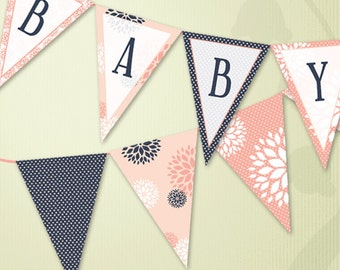 Floral and Polka Dot Printable Baby Shower Bunting in Coral and Navy Blue