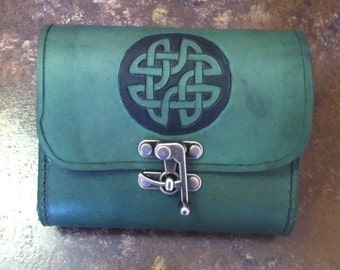 Handmade Green Leather Sporran with Cletic Knot