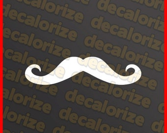 TWO (2) Mustache Vinyl Decal Stickers - One Pair JDM