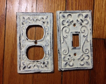 Light switch cover, or outlet cover, light cream, cast iron, shabby chic