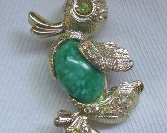 Vintage Duck Green Marble with Rhinestones Pin