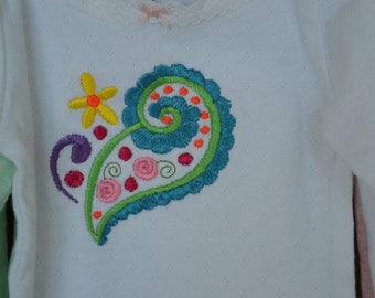 Paisley Embroidered Baby Onesie