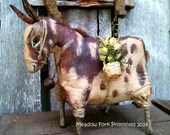 Primitive Folk Art Spotted Donkey Shelf Sitter-Cupboard Tuck EPattern--Pdf Instant Download--Hafair Team, FAAP