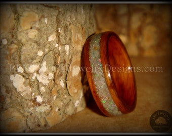 "Bentwood Wood Ring - ""Prism"" Rosewood Ring with Ethiopian Fire Opal Inlay using my bentwood process for a durable and beautiful wood ring."