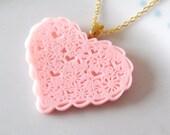 SALE  Pink Resin Lace Design Heart Pendant Necklace Vintage Style Pretty Valentine Romantic Love Heart