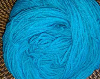 Hand Dyed 100% Superwash Merino Sport Weight Yarn Turquoise Sky