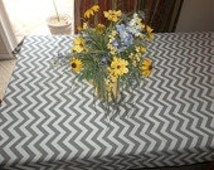SALE Gray and White Chevron Table Cloth, available in all colors