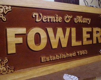 Custom Wooden Established Sign Carved Established Plaque House Number Sign Custom Signs Personalized Lake house Cabin Nature Signs