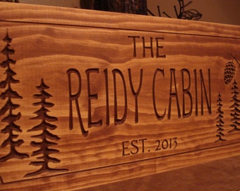 Rustic Cabin Wooden Carved Family Name Sign Welcome Signs Pine Tree Pine cone Rustic Sign Primitive Wooden Address Plaque Benchmark Signs