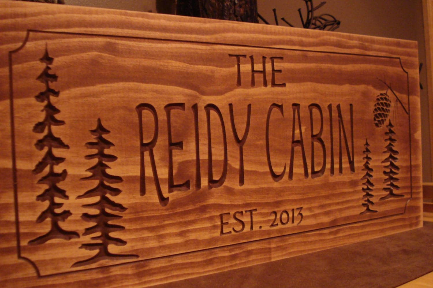 wooden family Chandeliers  & Lights name rustic Pendant signs