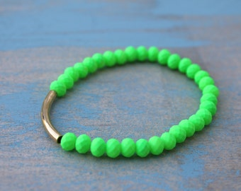 Neon Green Silicone Bracelet with Gold Tube
