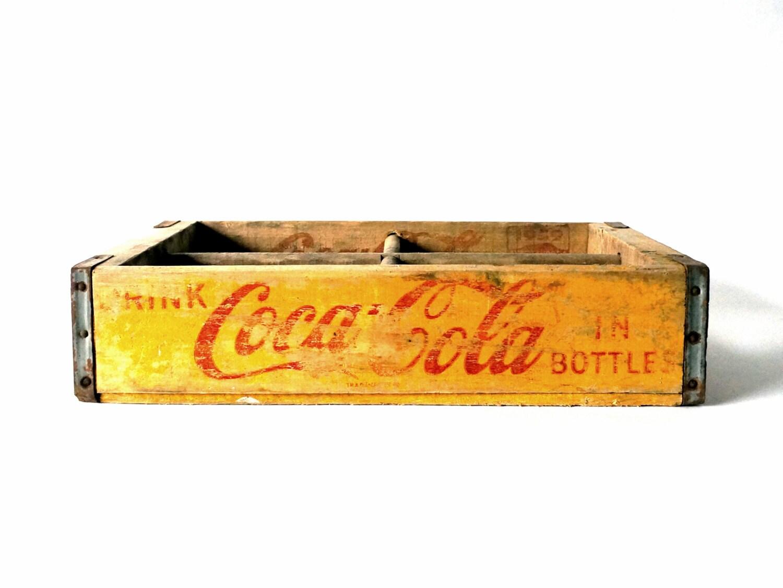 Vintage 1959 Coca Cola wooden crate with quarter slats