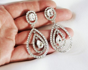 Bridal Accessories, Jewelry, Crystal Drop Rhinestone Earrings, Rhinestone Drop Earrings, Wedding Earrings, Crystal Earrings