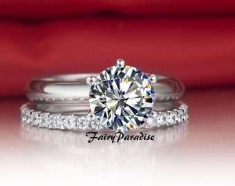 carat solitaire engagement wedding ring bridal set