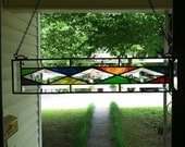 Stained Glass Window Beveled Panel Suncatcher  20 x 4