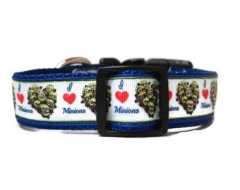 "Dog Collar  * I Love * * Adjustable Buckle  OR Martingale Collar** 1"""