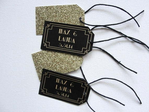 Glitter Favor Tags / Art Deco / Set of 10 / Double-sided / Wedding / Deco Scallop / Black Gold / Strings / Patterned 1920s Beveled Border