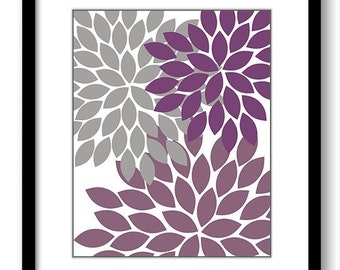 Flower Print Grey Gray Purple Plum Chrysanthemum Flowers Print Wall Decor Modern Minimalist Bathroom Bedroom