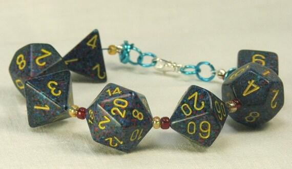 Bracelet Mens D-20 Gamer Bracelet Gamer Larp RPG Geek bijoux