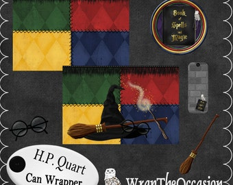 Harry P Wizard Theme Quart Can Wrap