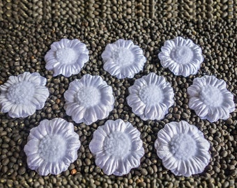 Small White Layered Fabric Flowers with Frilly Centers