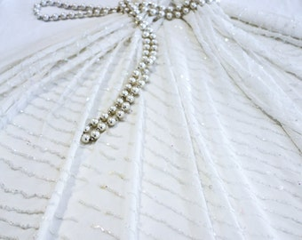 Ivory White Silk Georgette Fabric with hand Beaded Diagonal Lines