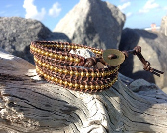 Leather Wrap Gold Bracelet,Wrap Bracelet, Gold Beaded Jewelry,Beaded Bracelet,Triple Wrap Leather,brown leather,Brown Wrap Bracelet,Leather