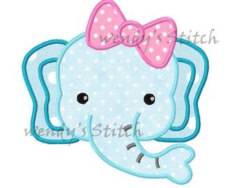 Girl Elephant machine embroidery design digital applique design