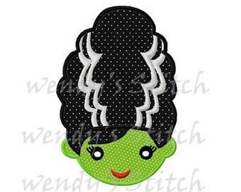 Halloween Frankenstein bride applique machine embroidery design