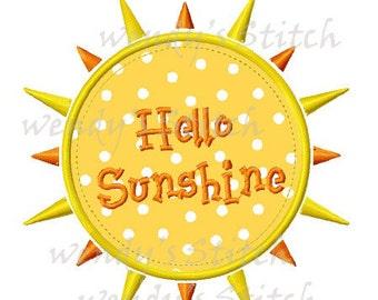 Hello sunshine sun applique machine embroidery design instant download