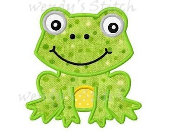 Frog applique #2 machine embroidery design digital pattern instant download