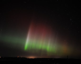 Aurora Borealis Fine Art Photograph, Northern Lights Picture, Red green and white, Quebec night photograph 18x24